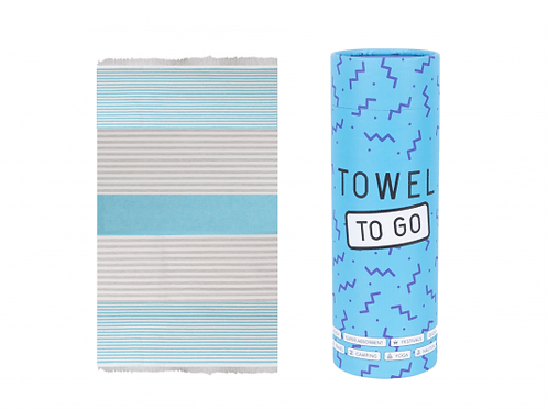 TOWELS TO GO TURQUOISE/GREY