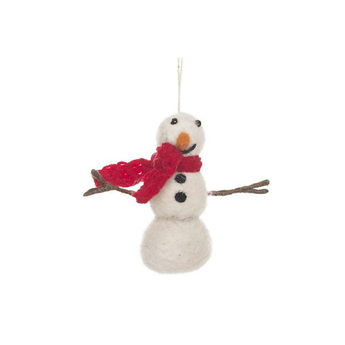 Handmade Felt Snowman with Knitted Scarf Biodegradable Hanging Decoration