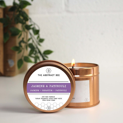 JASMINE AND PATCHOULI SCENT TIN CANDLE