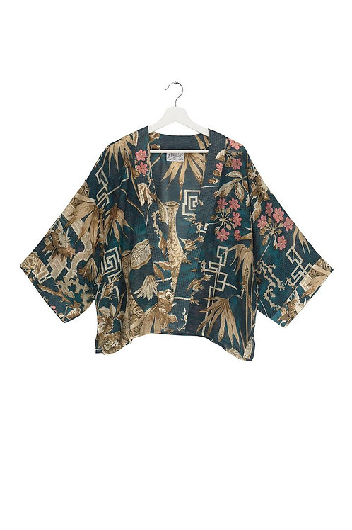 ONE HUNDRED STARS BAMBOO TEAL KIMONO