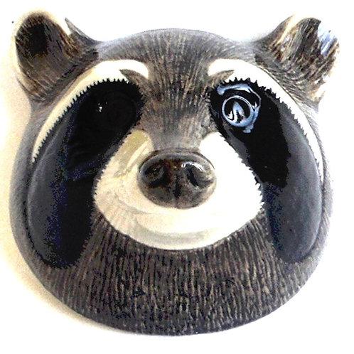 Raccoon wall vase quail