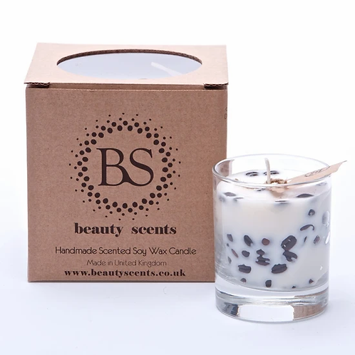 Scented Soy Wax Candle With vanilla and  Coffee Beans In Glass Container