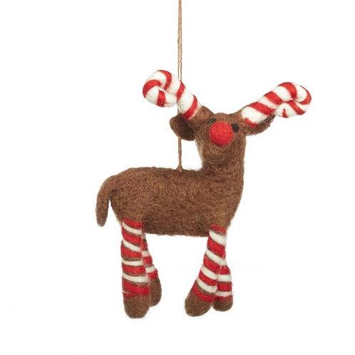 Handmade Felt Biodegradable Candy Legged Reindeer Christmas Tree Hanging Decorat