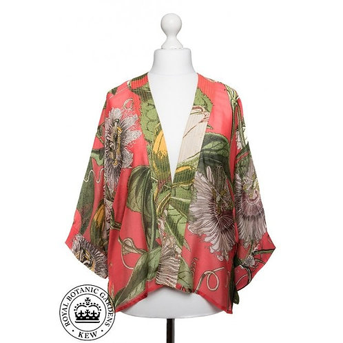 ONE HUNDRED STARS PASSION FLOWER CORAL KEW KIMONO
