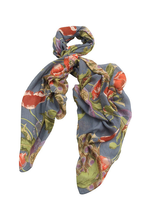 Peacock and Poppies Grey Scarf