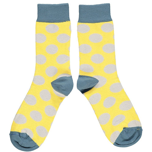 Ladies Yellow & Grey Large Dot Cotton Ankle Socks
