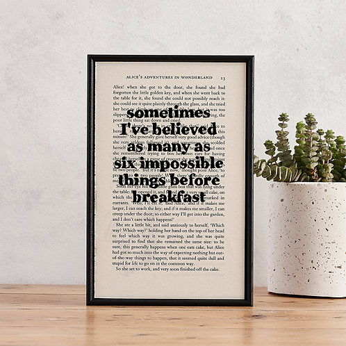 Alice in Wonderland 'Six Impossible Things' Framed Book Art