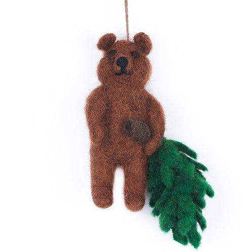 Handmade Felt Biodegradable Bear with Christmas Tree Hanging Decoration