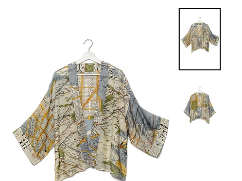 One Hundred Stars New York City Grey Map Kimono