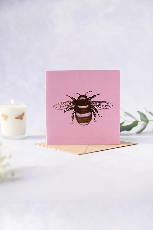 Bee Loved Peony Rose Foil Bee Greeting Card