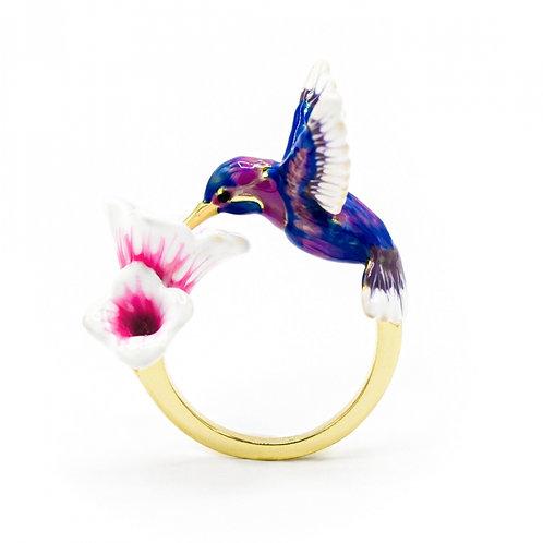 HUMMINGBIRD & FLOWER RING