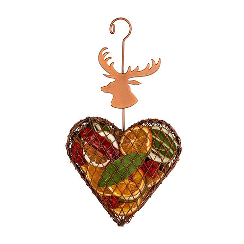 Copper Stags Head  Hanging Fruit Cage