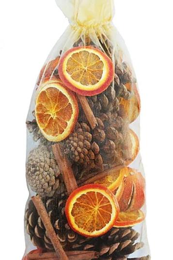 Large cone, orange and cinnamon organza bag