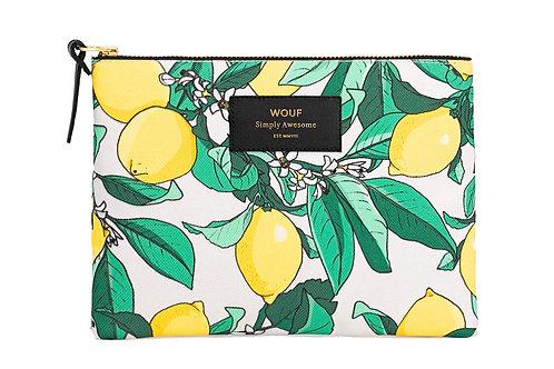 Cosmetic Bag with Lemons Print