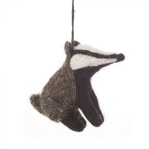 Handmade Felt Bertie Badger Hanging Biodegradable Decoration