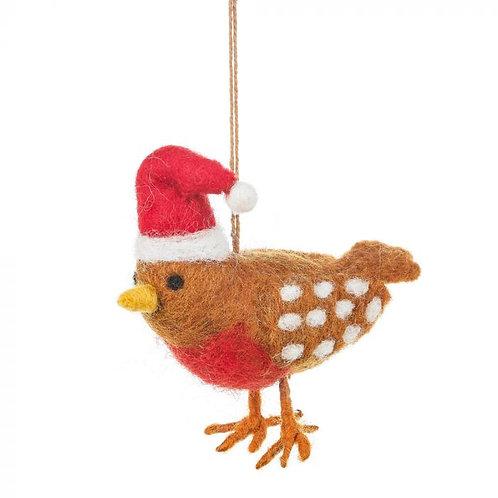 Handmade Felt Christmas Chicken Hanging Decoration