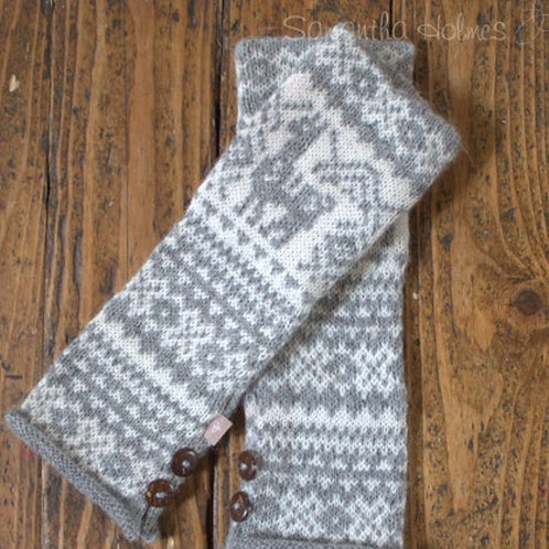 ALPACA FAIR ISLE FINGERLESS GLOVES
