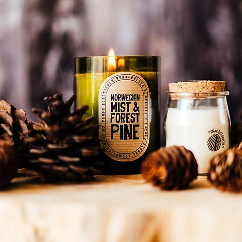 Panda Botanicals Wine Bottle Candle Norwegian Mist & Forest Pine