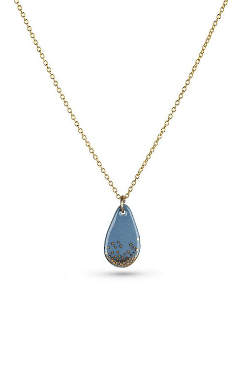 Porcelain Steel Raindrop Gold Necklace * MARCH DELIVERY