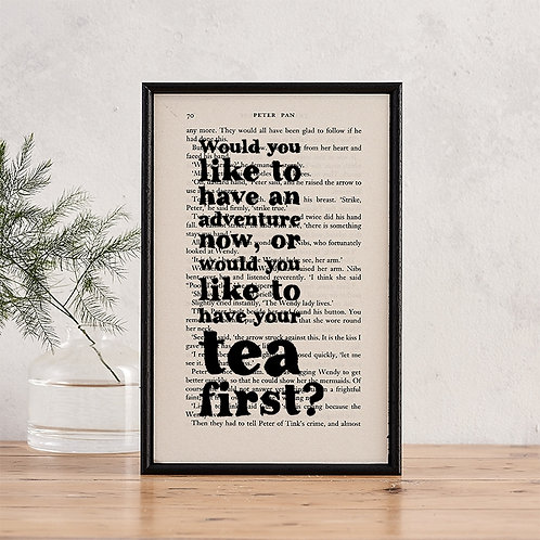 Peter Pan Adventure Quote Framed Print