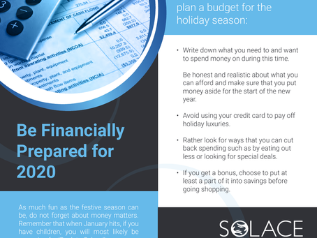 Solace has some financial tips for you before spending all your hard earned cash this festive season