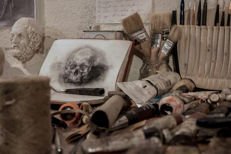 skull drawing, oil paint, brushes