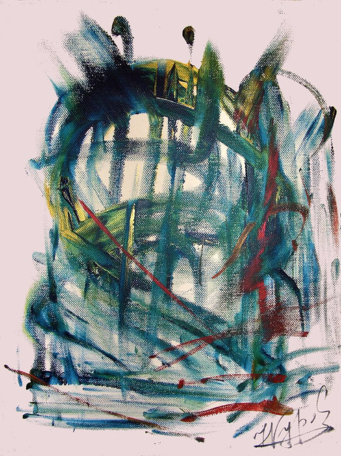 Green mask, 35X50, Acrylic on canvas, 2016, Natalia Gourova