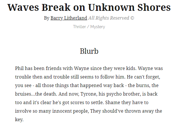 The Blurb for Waves Break on Unknown Shores