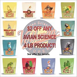 Get $2.00 OFF 4lb Avian Science Formulas
