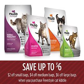 Get $2.00 OFF 2lb Bags, $4.00 OFF 5lb Bags, and $6.00 OFF 12lb Bags of Freestyle Cat Kibble.