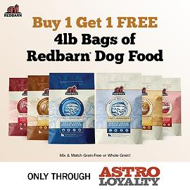 Buy 1, Get 1 FREE on all Redbarn 4lb Dry Dog Food.