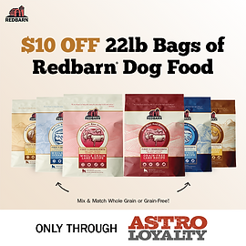 Get $10.00 OFF all 22lb Bags of Redbarn Dry Food