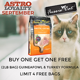 Buy 1, Get 1 FREE on Fussie Cat 2lb Bags of Guineafowl & Turkey Formula