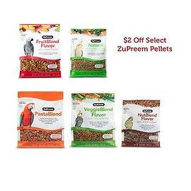 Get $2.00 OFF ZuPreem Fruitblend, Natural, NutBlend, VeggieBlend, and PastaBlend Bird Diets