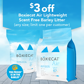 Save $3.00 on any size Boxiecat Air Lightweight Scent Free Barley Litter