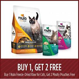Buy 1, get 2 free Nulo cat food.