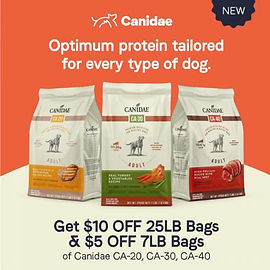 $10 off 25lb bags and $5 off 7lb bags of Canidae dry dog food.