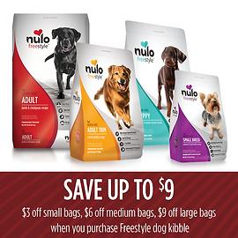 $3.00 OFF 4.5lb Bags, $6.00 OFF 11lb Bags, and $9.00 OFF 24lb Bags of Freestyle Dry Dog Kibble