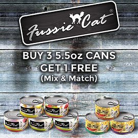 Buy 3 cans, get 1 free Fussie Cat cat food.