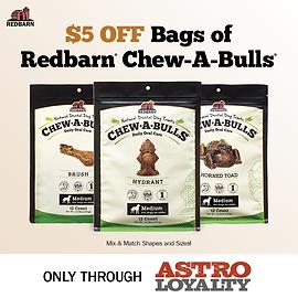 Get $5.00 OFF all CHEW-A-BULLS Dental Treat Bags