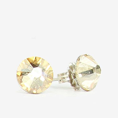 7mm Swarovski Crystal Earrings - Gold Shadow