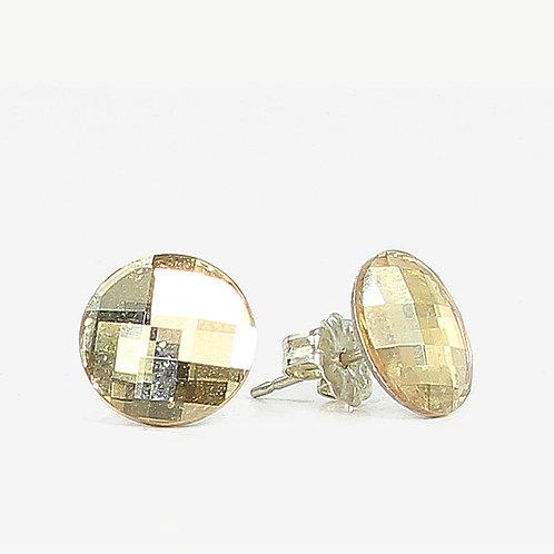 10mm Swarovski Crystal Round Chessboard Earrings - Gold Shadow
