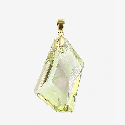 Irregular Hexagon Swarovski Crystal Pendant - 50mm - Iridescent Green