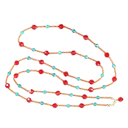Red and blue warm crystal necklace - XLong