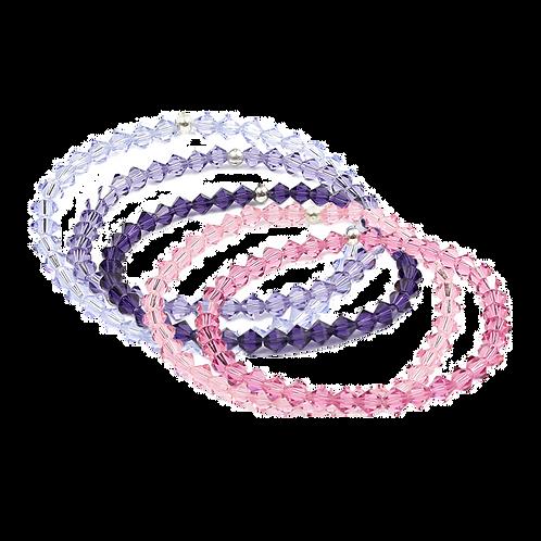 Crystal Bracelets - Pink and Purple