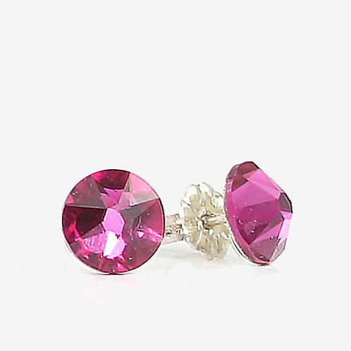 7mm Swarovski Crystal Stud Earrings - Fuchsia