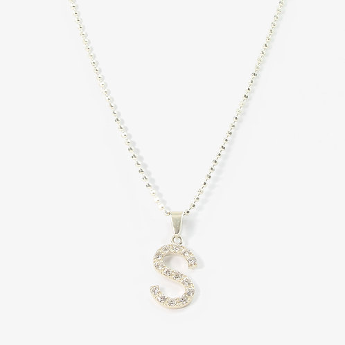 Sterling silver initial necklace  S