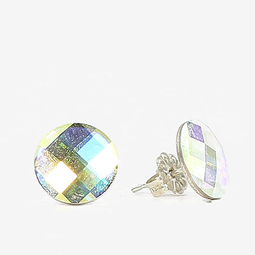 10mm Crystal Round Chessboard Earrings - Crystal AB