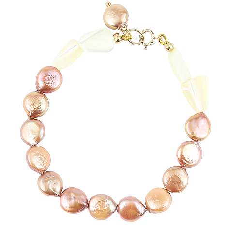 Rose-brown freshwater and Mother of Pearl bracelet