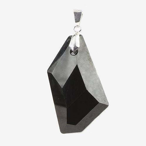 Irregular Hexagon Swarovski Crystal Pendant - 50mm - Jet